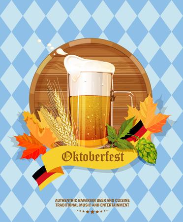 Illustration pour Oktoberfest greeting card. Poster with mug of beer, hops, pretzels, autumn leaves, sausages, beer foam, flag of Germany on background of blue rhombuses - image libre de droit