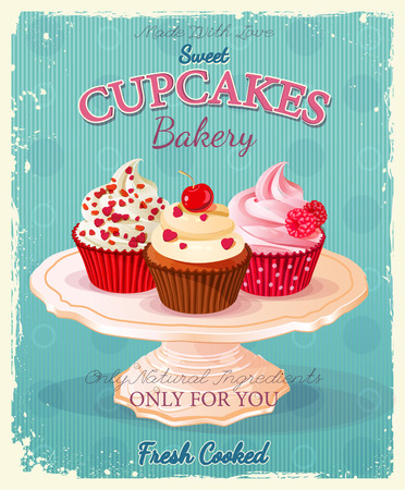 Illustration pour Cupcakes. Poster in vintage style. Wedding and birthday sweets. - image libre de droit