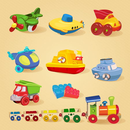Set of toys with airplane, the submarine, truck, dump truck, helicopter, designer, train, car, ship, boat.