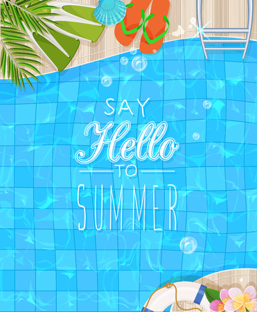 Illustration pour Top view of swimming pool with clean water. Summer poster - image libre de droit