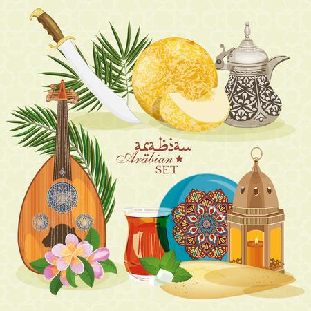 Arabic set. Traditional eastern life.