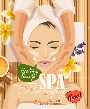 Illustration for illustration woman taking facial massage treatment in the spa salon on bamboo background - Royalty Free Image
