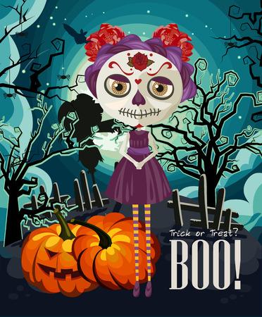 Happy Halloween Vector Invitation Card With Zombie Royalty