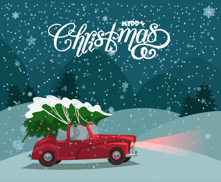 Ilustración de Christmas landscape card design of retro red car with tree on the top. Merry Christmas illustration in vintage design. - Imagen libre de derechos