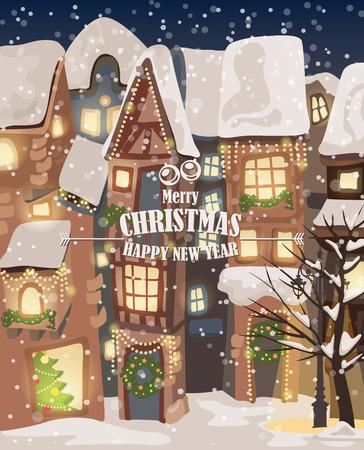 Enjoyable Christmas Town Illustration Winter Landscape Greeting Card Interior Design Ideas Skatsoteloinfo