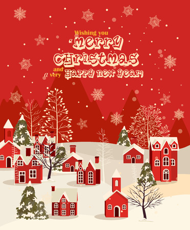 Illustration for Christmas greeting card with vintage house. Winter town. Snowfall illustration - Royalty Free Image