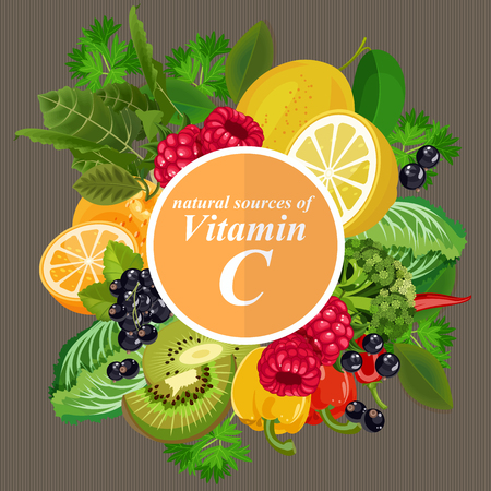 Foto de Groups of healthy fruit, vegetables, meat, fish and dairy products containing specific vitamins. Vitamin C. - Imagen libre de derechos