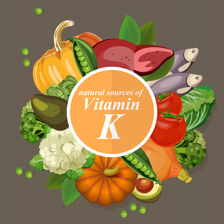 Illustration pour Groups of healthy fruit, vegetables, meat, fish and dairy products containing specific vitamins. Vitamin K. - image libre de droit