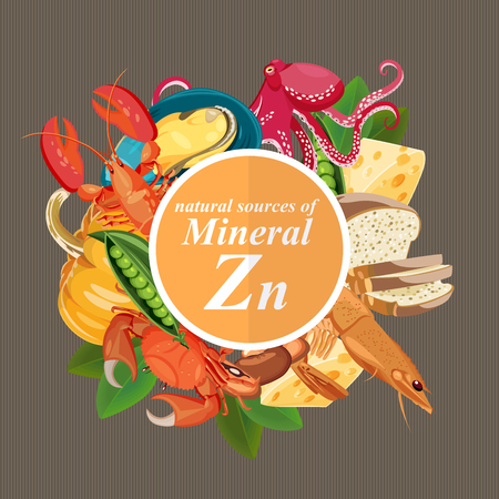 Illustration pour Groups of healthy fruit, vegetables, meat, fish and dairy products containing specific vitamins. Zinc. Minerals. - image libre de droit