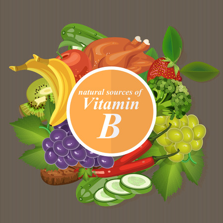 Illustration pour Groups of healthy fruit, vegetables, meat, fish and dairy products containing specific vitamins. Vitamin B. - image libre de droit