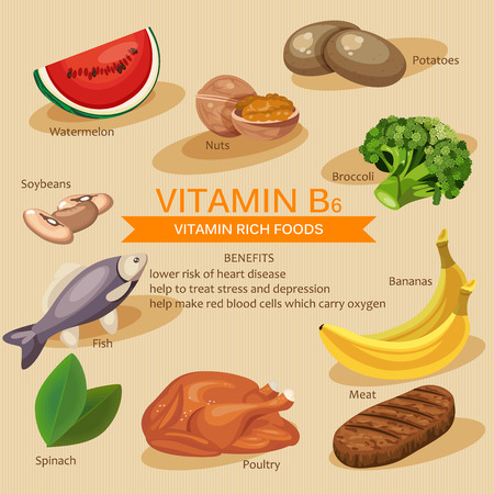 Illustration pour Vitamins and Minerals foods Illustration. Vector set of vitamin rich foods. Vitamin B6. Bananas, spinach, meat, nuts, poultry, fish, potatoes, broccoli and watermelon - image libre de droit