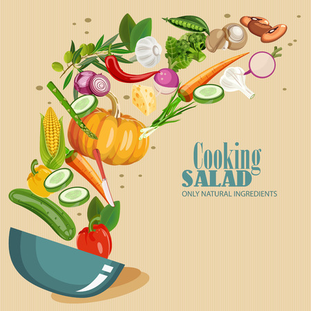 Vektor für Cooking infographics. Fresh salad. Detailed Vector Icon. Series of food and drink and ingredients for cooking. - Lizenzfreies Bild