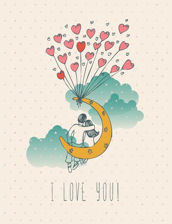 Illustration pour Valentines day greeting card in vintage hipster design. I love you retro note. Hand drawn style. - image libre de droit