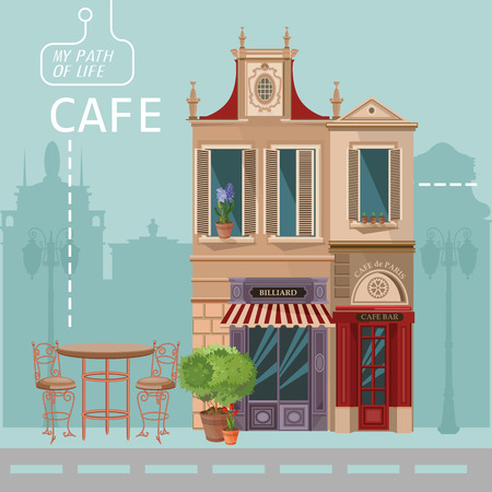 Illustration for Vector illustration of French village street scene with cafe - Royalty Free Image