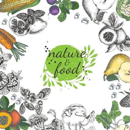 Vektor für Nature food poster. Vintage frame with fruit, vegetables in vintage style. Sketch background. - Lizenzfreies Bild