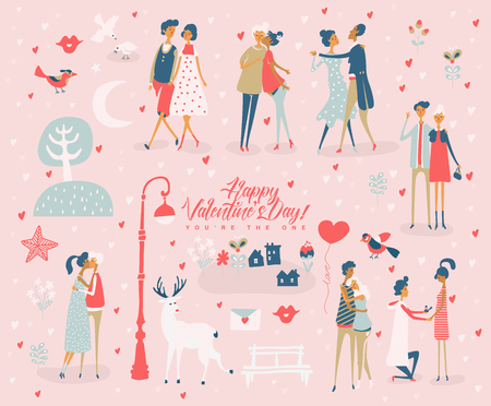 Illustration pour Valentine's Day vector greeting card with cute lovers. Boyfriend and girlfriend are in love. Hand drawn illustration in vintage style. - image libre de droit