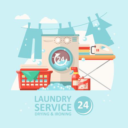 Ilustración de Laundry service vector illustration in flat modern design. Cleaning concept - Imagen libre de derechos