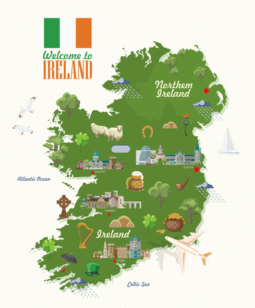 Illustration pour Ireland vector illustration with landmarks, irish castle, green fields. - image libre de droit