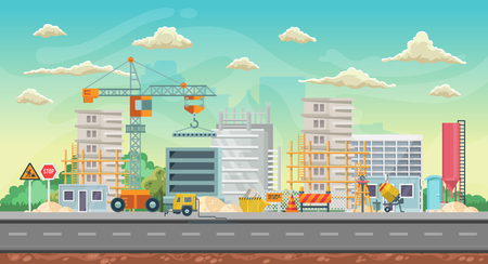 Ilustración de Vector game background. Landscape orientation. Panorama with construction - Imagen libre de derechos