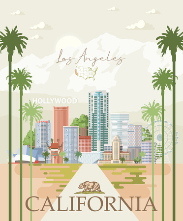 Illustration for Los Angeles vector city template. California poster in colorful flat style. - Royalty Free Image