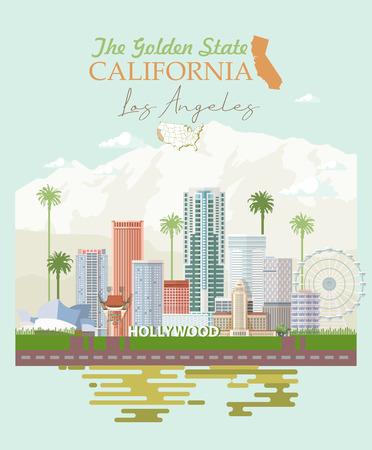 Illustration pour Los Angeles vector city template. California poster in colorful flat style. - image libre de droit