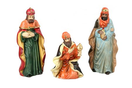 The three wise men from the Christmas story.  Isolated.