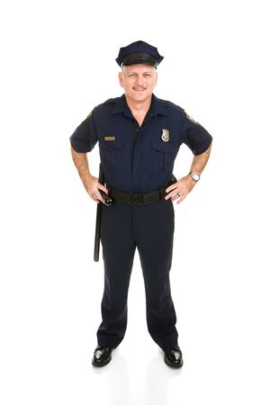 Full body frontal view of a handsome, mature police officer.  Isolated on white background.