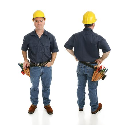 Front and back views of a construction worker.  Full body isolated on white.