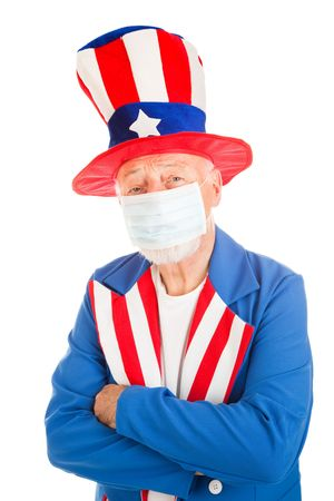 American symbol Uncle Sam wearing a face mask to protect against a health epidemic.