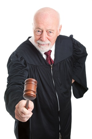 Angry judge bangs his gavel.  Isolated on white.