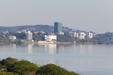 South of Porto Alegre city buidings, Ibere Camargo museum can be seen in the middle of the picture.