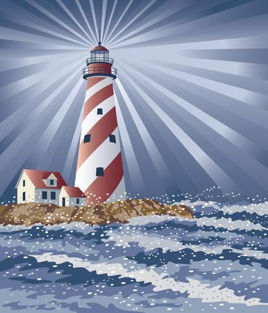 Illustration of a lighthouse illuminating the night.