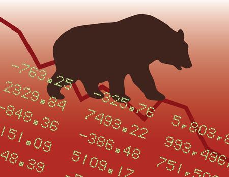Illustration of a bear market downtrend.