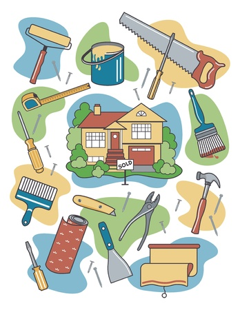 Illustration pour Vector illustration of household tools and items surrounding a newly-sold renovated home. - image libre de droit