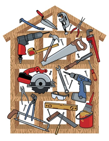 Illustration pour Construction tools in wood frame house. - image libre de droit