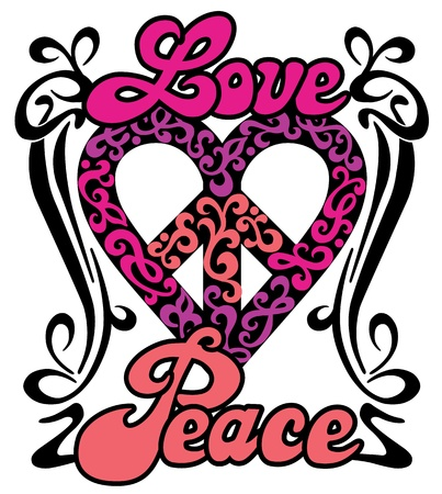 Love Peace Heart retro design of a love-peace symbol with the words, Love and Peace in a swirly border
