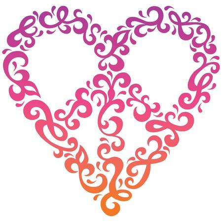 Peace Heart design in a retro 1960s-1970s style