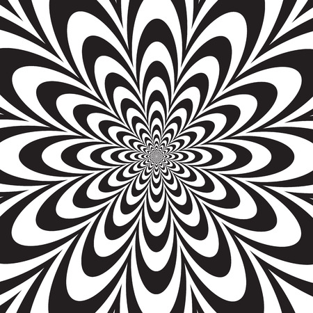 Infinite Flower Op Art design in black and white.