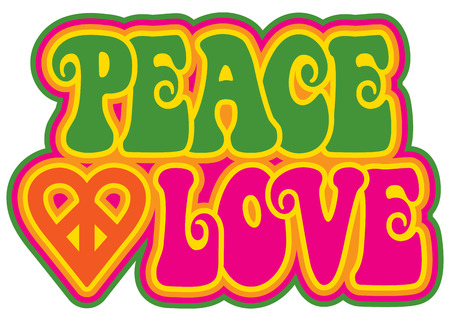 Illustration pour Peace and Love retro-styled text design with a peace heart symbol in green, pink, yellow and orange. - image libre de droit