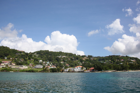 Beautiful landscape of St Georges, Grenada from the ocean, Caribbean.