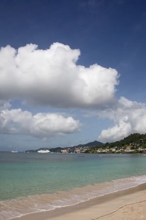 Beautiful Grand Anse beach with St Georges in the background, Grenada, Caribbean.