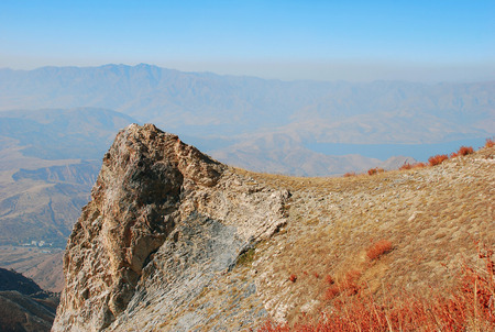 Perspective from the top of a cliff in the western Tien Shan. Uzbekistan