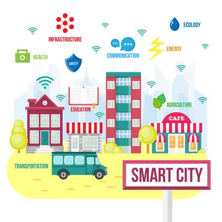 Illustration pour Smart city concept.  Future city icons,  intelligent city - image libre de droit