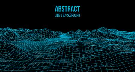Ilustración de Wireframe landscape wire. Wireframe terrain landscape design. 3d landscape - Imagen libre de derechos