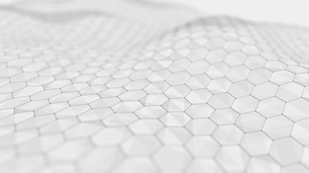 Photo pour Wave white background. Abstract white futuristic background. Wave with connecting dots and lines on white background. 3D rendering. - image libre de droit