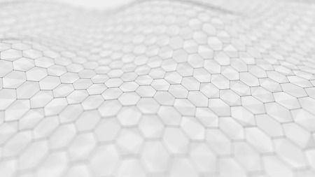 Wave white background. Abstract white futuristic background. Wave with connecting dots and lines on white background. 3D rendering.