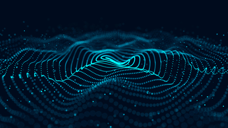 Wave of particles. Abstract background with a dynamic wave. 3d rendering.