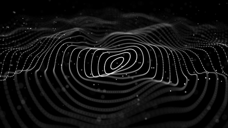 Wave of particles. Abstract dark background with a dynamic wave. 3d rendering.
