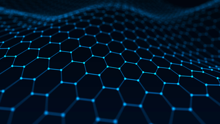 Photo for Abstract technology background. Artificial intelligence. Futuristic hexagon perspective background. Big data visualization. 3D rendering. - Royalty Free Image