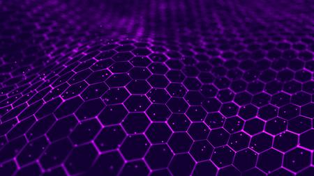 Photo pour Big data visualization. Futuristic hexagon background. Big data connection background. 3D rendering. - image libre de droit